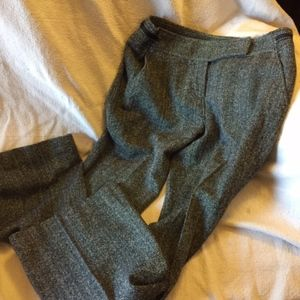 ANN TAYLOR BLACK WHITE TWEED RIBBON TRIM WIDE LEGS